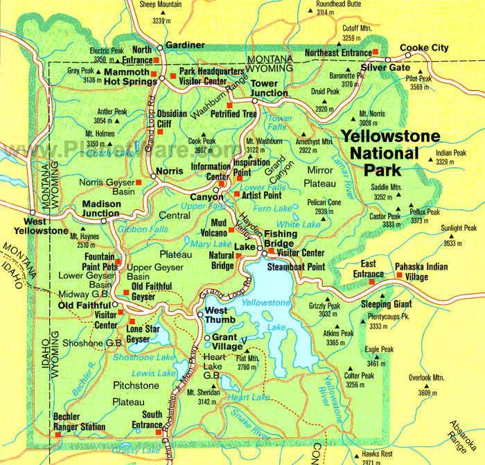 Yellowstone Park Map Englisho Aca
